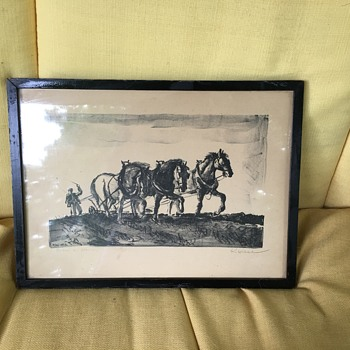 Antique pencil etching horses  - Fine Art