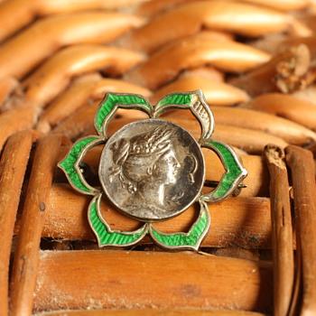 Enamel and silver victorian brooch - Fine Jewelry