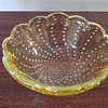 Scalloped Yellow Controlled Bubble Glass Bowl