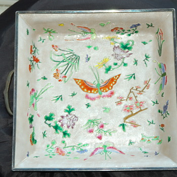 Vintage Korean 990 Silver Enamel Tray   - Asian
