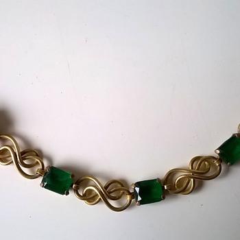Brass & Green Glass Bracelet, Flea Market Find In Germany, $2.50 - Costume Jewelry