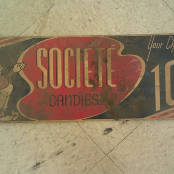1920s Societe Candies poster sign ad. cardboard
