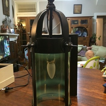 Arts & Crafts hall lantern with vaseline shade - Arts and Crafts