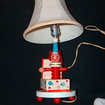 Vintage Childrens Clown in a Box Lamp with Original Lamp Shade - Lamps