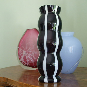 "Striped ""SKUNK"" Vase- By WELZ - Art Glass"