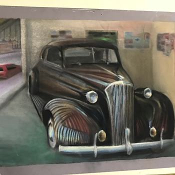 1937 Chevy coupe pastel art work  - Classic Cars