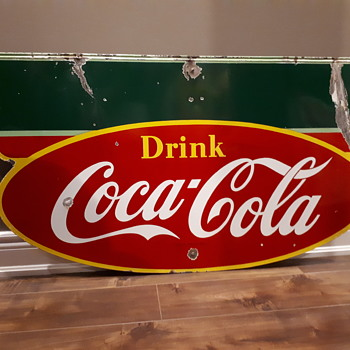 1949 Coca Cola double sided porcelain marquee sign - Coca-Cola