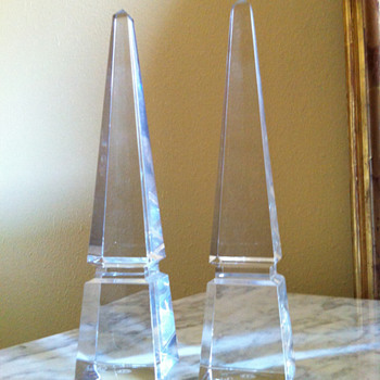 Pair of Baccarat Louxor Crystal Obelisk - Art Glass