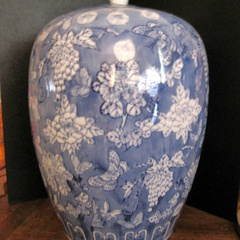 Blue & White Chinese Porcelain Vase/Ginger Jar - Asian