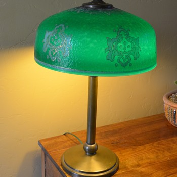 Green Glass Shade with Brass Base - Lamps