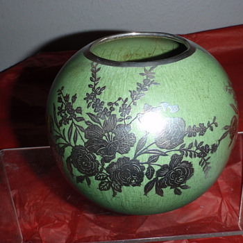 Frankoma Silver Overlay Vase - Pottery