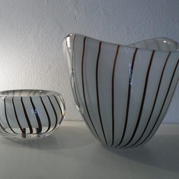 Gunnar Nylund Vase & Bowl, Strombergshyttan. - Art Glass