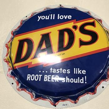 Dad's root beer bottle cap sign   - Advertising