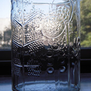 Glass Vase w/ Embossed Abstracted Tree/Flower Design, Beautiful...Scandinavian? - Art Glass