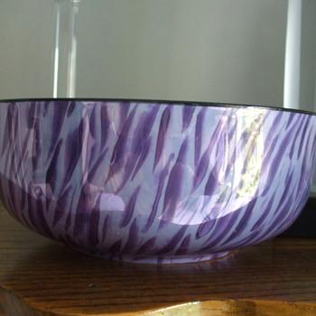 """Purple Tiger Stripes"" Czech Porcelain Bowl of 1920's-30's - Pottery"