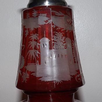 Small Ruby Bohemian Vase  - Art Glass