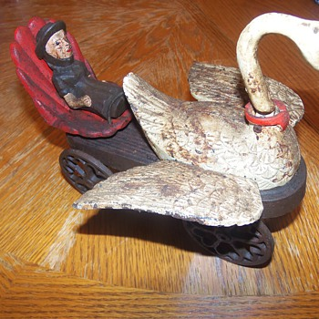 Antique Cast Iron Mother Goose Mechanical Buggy? - Toys