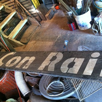 Wooden Conrail sign