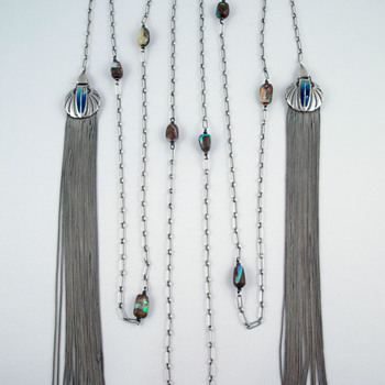 Theodor Fahrner Silver, Opal and Enamel Tassel Necklace - Fine Jewelry