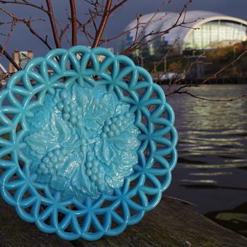 HENRY GREENER BLUE TURQUOISE PLATE SUNDERLAND - Art Glass