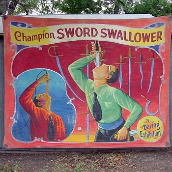 Vintage Side Show Banner of Swordswallower