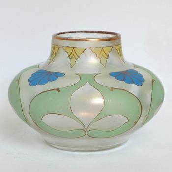 Fritz Heckert Art Nouveau Enameled Vase - Art Glass