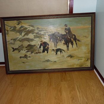 Very Large Older Painting Western Russel Style Storage Find - Fine Art