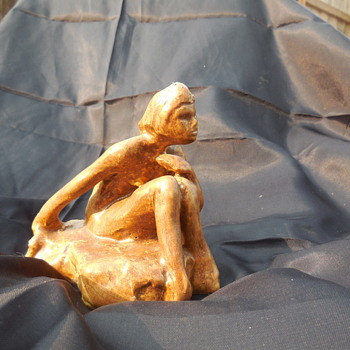 Antique/Vintage Pottery Figurine Nude Woman Sitting On Beach Marked Z - Figurines