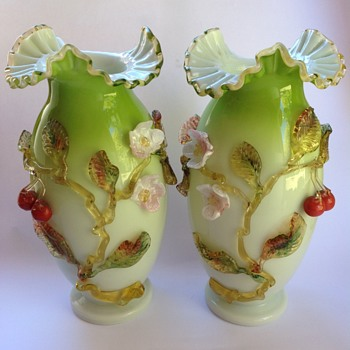Pair Victorian cased glass vases with applied decoration - Art Glass