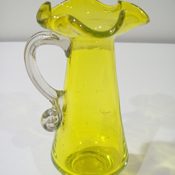 Yellow Handblown Glass Pitcher - Art Glass