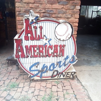 All American Sports Diner road sign - Baseball