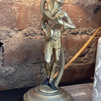 Brass? Harlequin or Jester mini lamp  - Lamps