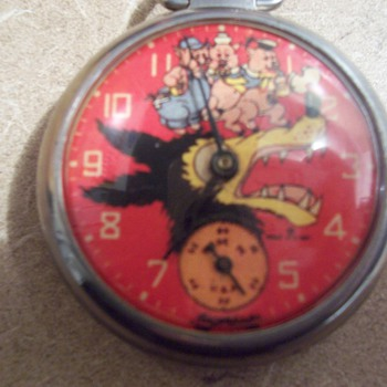 Vintage Three Little Pigs and Big Bad Wolf Pocketwatch - Pocket Watches