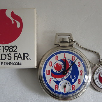 1982 Knoxville, TN. Worlds Fair Commemorative Watch, Fob & Box - Pocket Watches