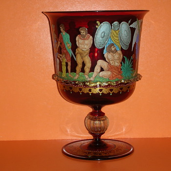 GOODWILL FIND! VENETIAN RUBY GLASS VASE ENAMEL ROMAN SCENE  - Art Glass