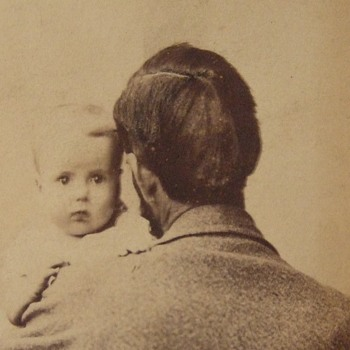 Father holds baby in first photograph cdv