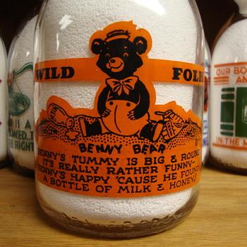 "REPOST...""WILD FOLK"" SERIES...BENNY BEAR..BATAVIA DAIRY - Bottles"