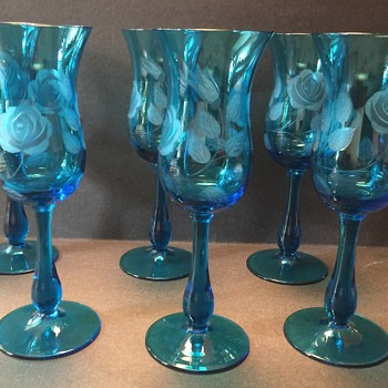 Vintage blue stemware with etched roses - Glassware