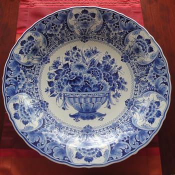 Large Delft blue porcelain plate  - Pottery