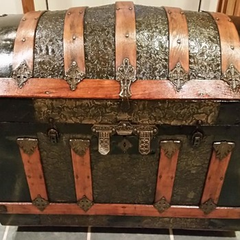 Black Metal 1800's Trunk - Furniture