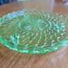 Bagley uranium glass Cake Plate