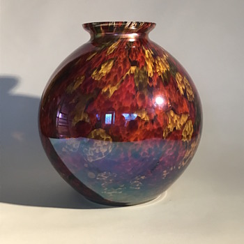 Big Kralik Iris Spatter Ball Vase - Art Glass