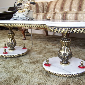 "Italian Marble ""S"" Shaped Coffee Table w/ Gold Inlay"