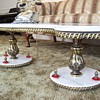 """Italian Marble """"S"""" Shaped Coffee Table w/ Gold Inlay"""