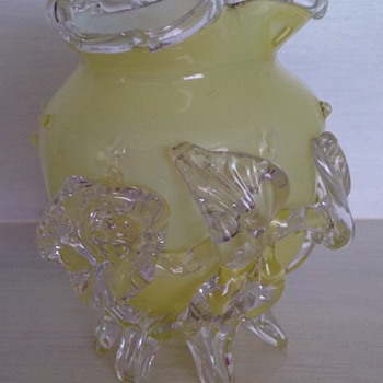 Victorian yellow cased glass vase with applied flower - Art Glass