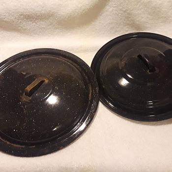 two old blue enamelware pot lids - Kitchen