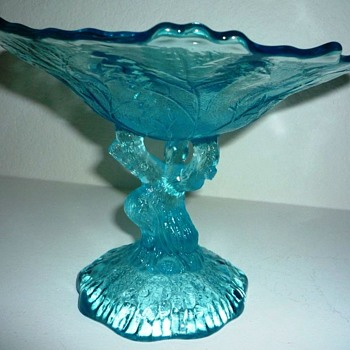 Who made it? Ice Blue Oak Tree Trunk Glass Compote - Glassware