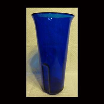 Catholic Church Sanctuary Cemetery Blue Glass Votive Candle Holder - Art Glass