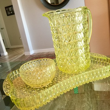 Cut glass pitcher, bowl and tray  - Glassware