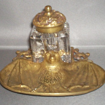 Brass/Bronze inkwell with Brass Bat pen tray.